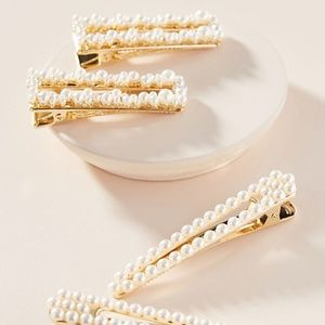 NWT Anthropologie Lise Pearl Barrette Set